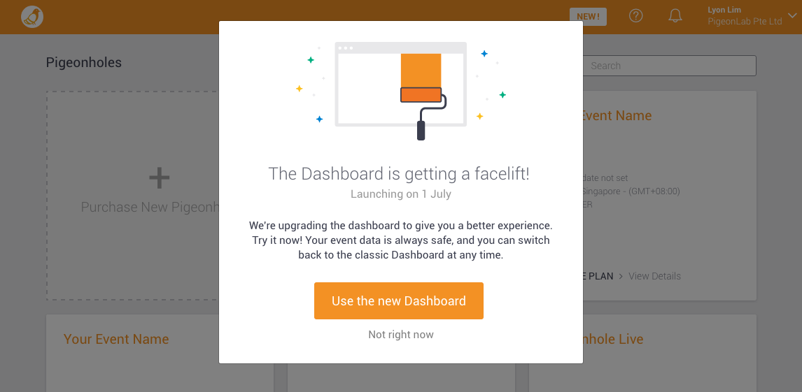 Prompt asking you to try the new Dashboard