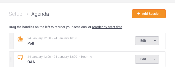 Agenda sessions with reorder handles