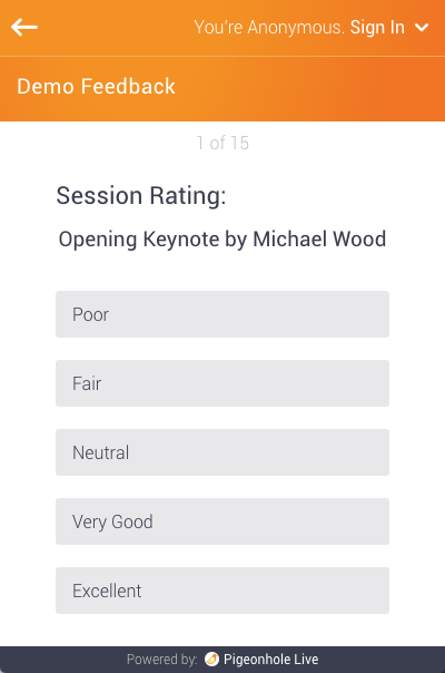 'Session Rating:' is the category, and 'Opening Keynote by Michael Wood' is the survey question