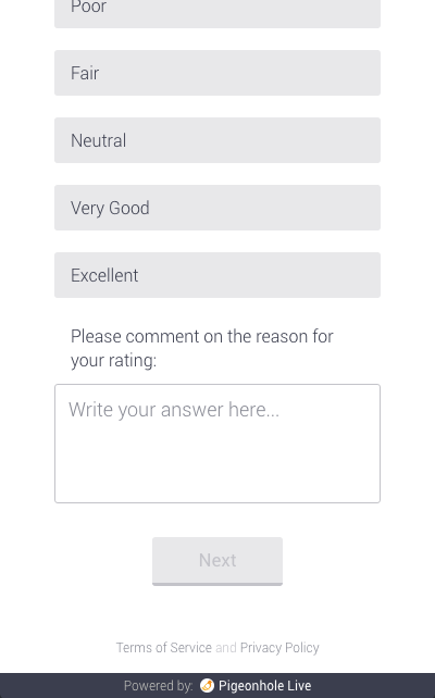 Optional comments enabled for this survey question. The text label in this example has been changed to 'Please comment on the reason for your rating:'